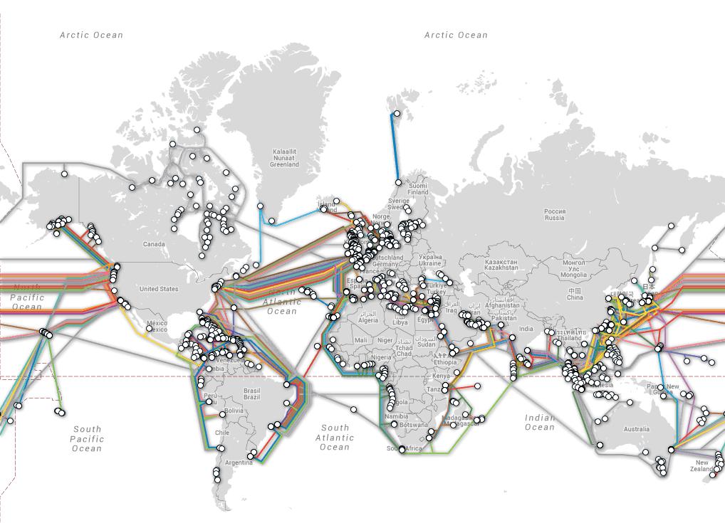 carte des câbles internet enfouis dans les océans